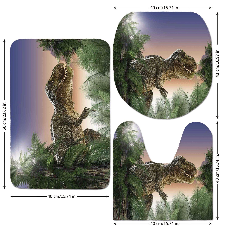 3 Piece Bathroom Mat Set,Jurassic Decor,Dinosaur in the Jungle Trees Forest Nature Woods Scary Predator Violence,,Bath Mat,Bathroom Carpet Rug,Non-Slip