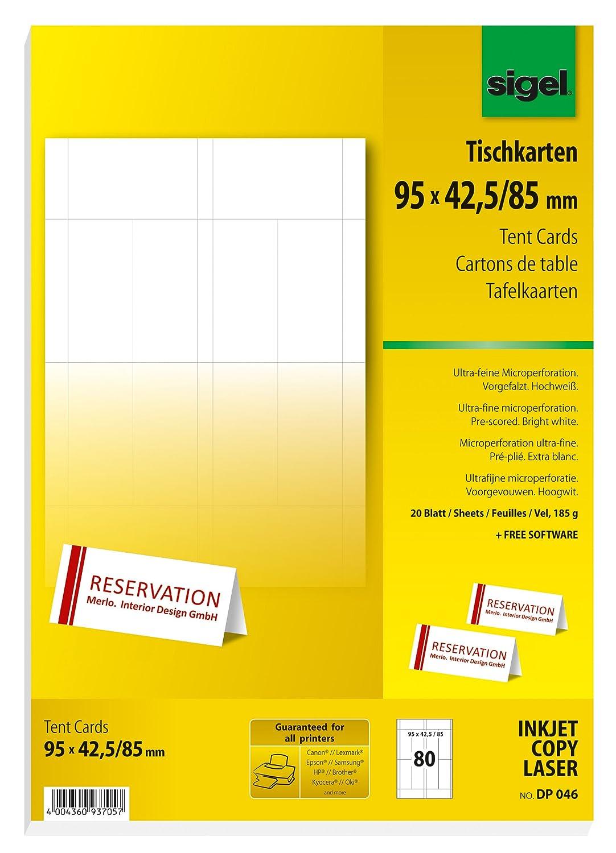 Sigel DP046 bedruckbare Tischkarten weiß, 9,5 x 4,2 cm (auf A4), 80 ...