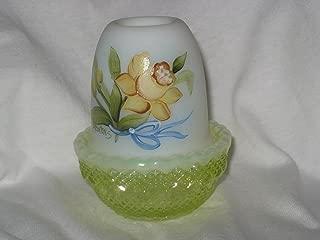 product image for Hand Painted Daphodil Bouquet 2 Piece Vaseline Opalescent Candle Lamp