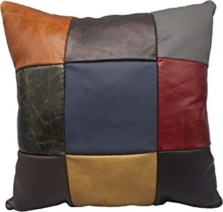 """product image for Saving Shepherd Amish Color Leather 9 Patch Quilt Pillow - 15"""" Exquisite Look & Feel and Handmade in USA"""
