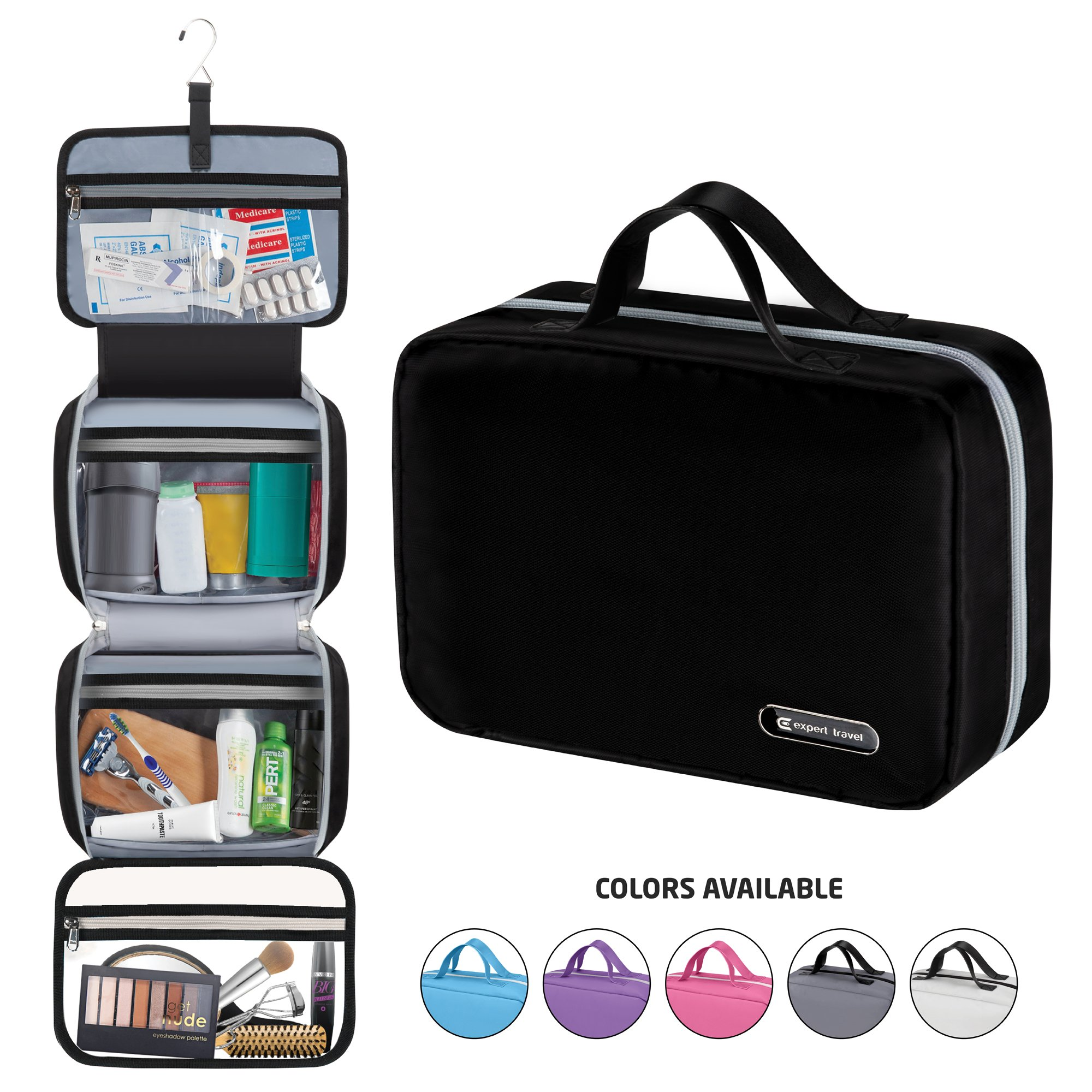 Hanging Travel Toiletry Bag for Men and Women | Makeup Bag | Cosmetic Bag | Bathroom and Shower Organizer Kit | Leak Proof | 2 Sizes - Large (34''x11'') & XL Family Size (42''x13'') by Expert Travel