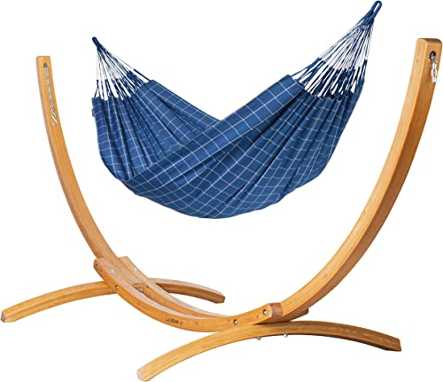LA SIESTA Outdoor Kingsize Hammock with Sustainable Wood Arc Stand – Brisa Almond Weather-Resistant