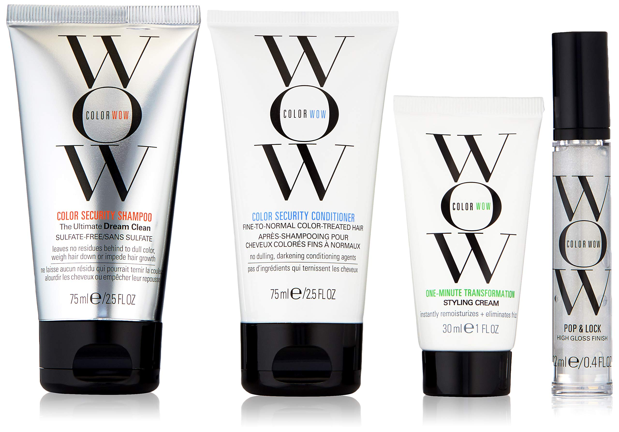 COLOR WOW Quick Frizz Fixes! Travel Kit Includes Shampoo, Conditioner, Styling Cream and Gloss Treatment, 6.4 Fl Oz by COLOR WOW