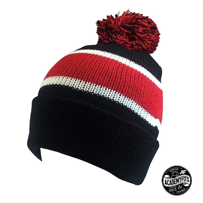 4315c2f61d29e AcademyFits Quality Warm Winter Knit Soft Stripe Pom Pom Beanie 9 ...