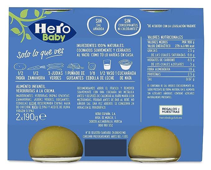 Hero Baby Buenas Noches Verduras a la Crema - Paquete de 2 x ...