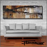 Abstract Modern Canvas Painting, Contemporary Wall Art Limited Edition - 72 x 24 x 1.5 Ready to Hang. Direct from studio ELOISE WORLD.