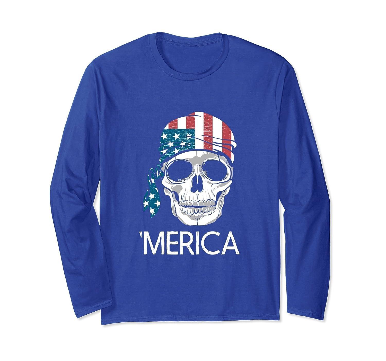 American Flag Skull Distressed Long Sleeve Shirt Gift-mt