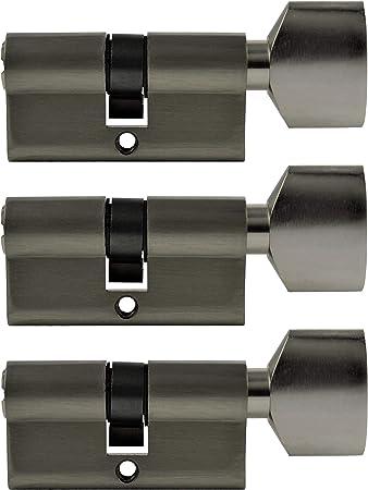 3/x serrure /à cylindre 60/mm serrure identiques avec bouton et 15/Cl/é r/éversible 30/x 30