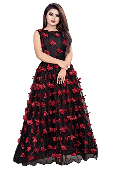 Buy Aika Fashion Women S Net Embroidery Semi Stitched Gown Black