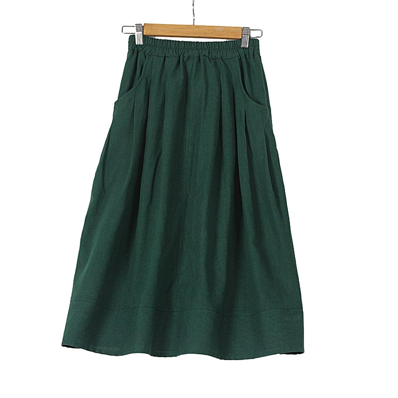 Yougao Women's Fashion Vintage Elastic Waist Solid Color Linen Long Skirt