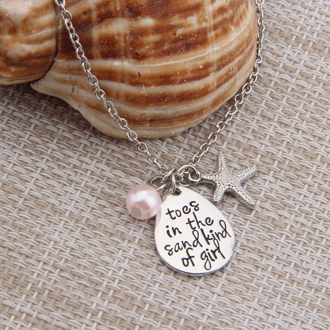 ENSIANTH Toes In The Sand Kind of Girl Engraved Charms Necklace Beach Jewelry with Starfish (waterdrop necklace) by ENSIANTH (Image #6)