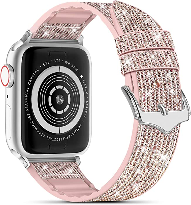 Compatible with Apple Watch Band 38mm 40mm 42mm 44mm, CTYBB Blingbling Sweatproof Genuine Leather and Silicone Band for iWatch SE Series 6 5 4 3 2 1, (Glitter Pink/Silver, 38mm 40mm)