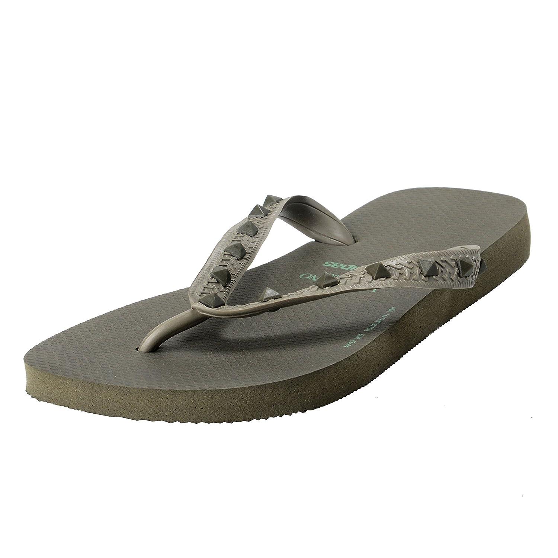 fa57fe5cb77e durable service Valentino Garavani By Havaianas Men s Rockstud Army Gray Flip  Flops Shoes