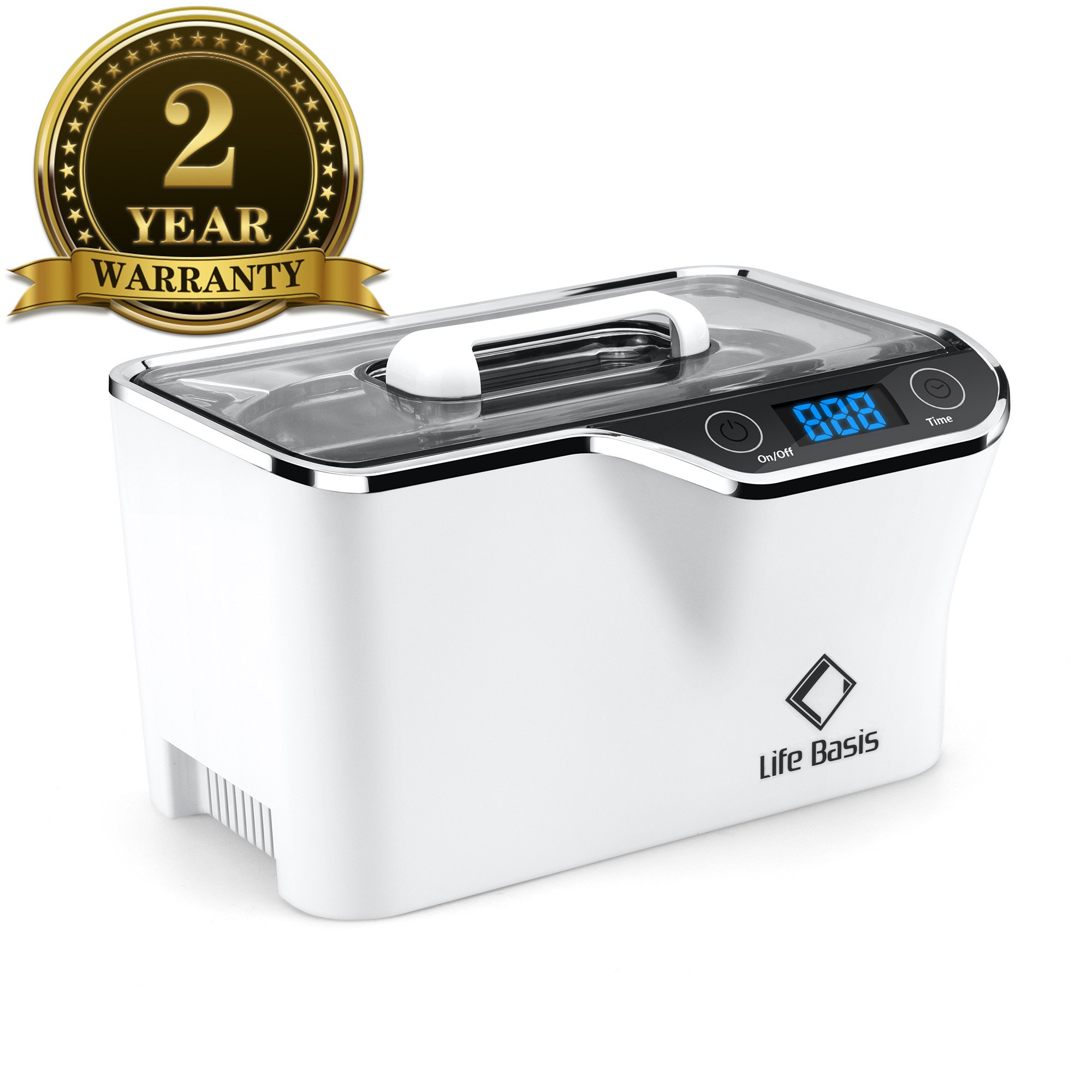 Life Basis Professional Ultrasonic Jewelry Cleaner with Digital 750ML Automatic Timer for Eyeglasses Rings Coins for Home White