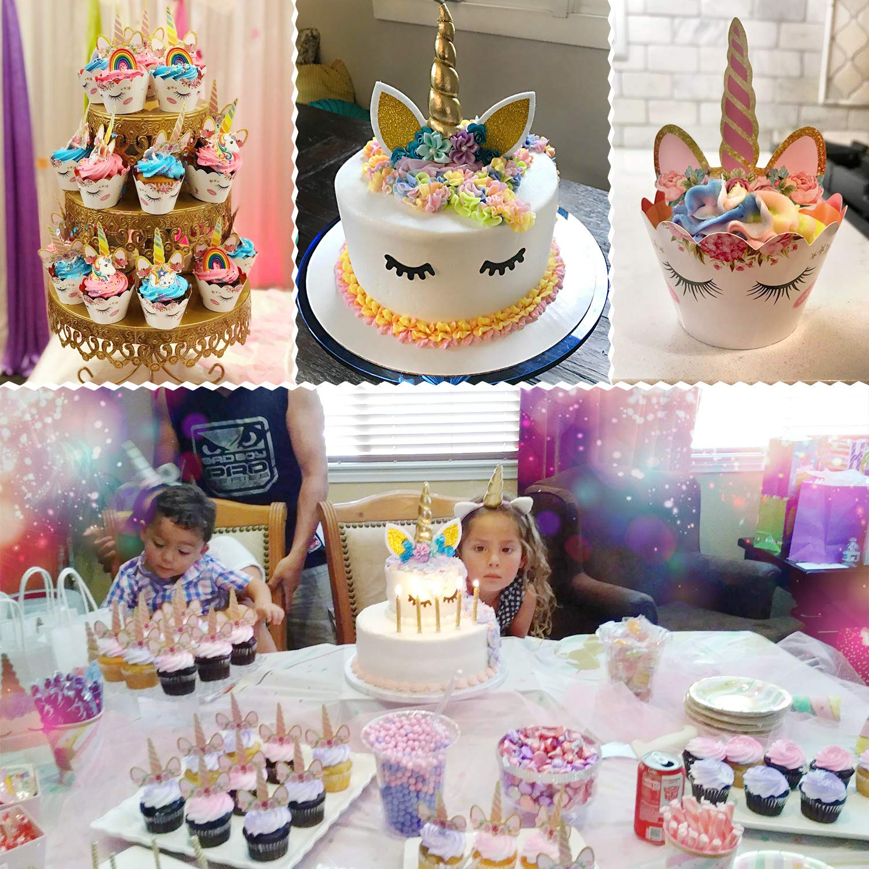 0e5829b8169f Unicorn Cake Topper with Eyelashes and Unicorn Cupcake Toppers & Wrappers  Set - Unicorn Party...