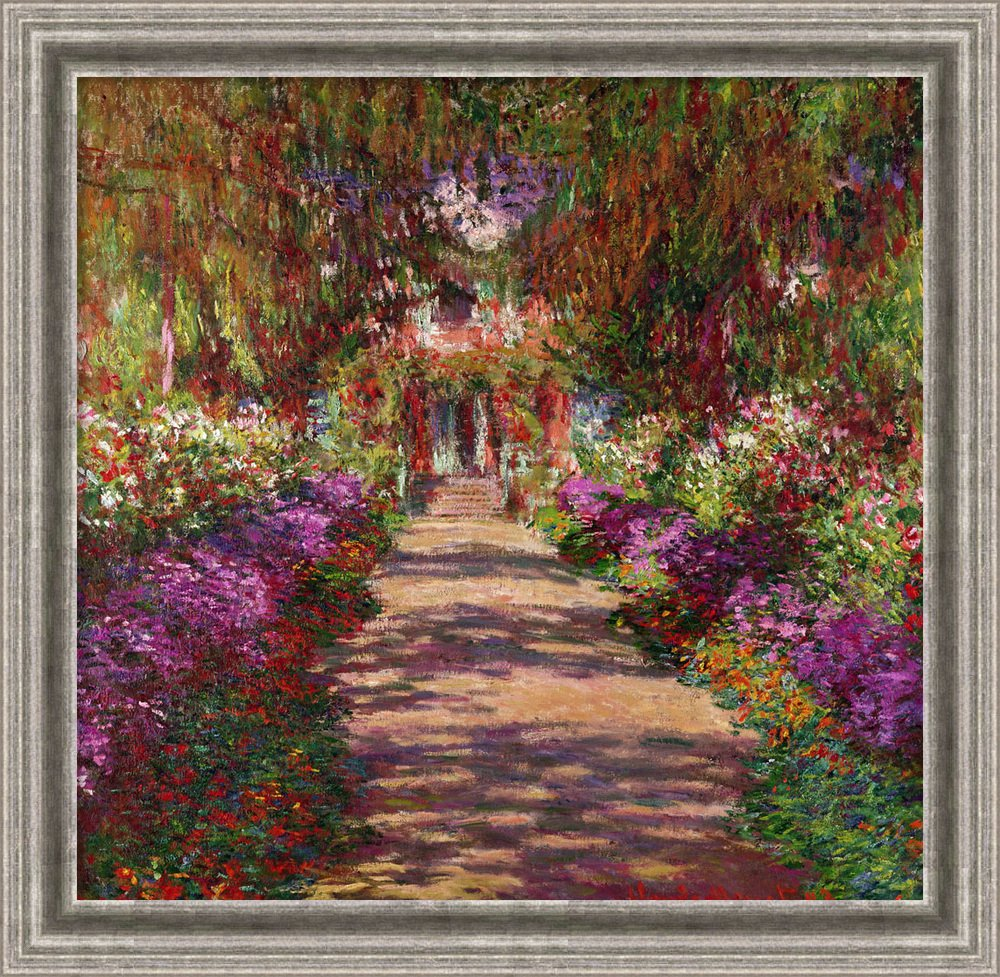 Amazon.com: Canvas Art Framed \'A Pathway in Monet\'s Garden, Giverny ...