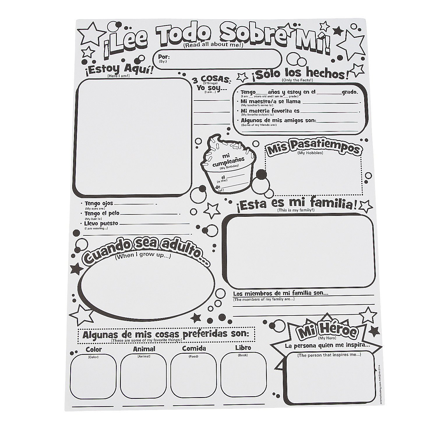 Fun Express Color Your Own Spanish All About Me Posters