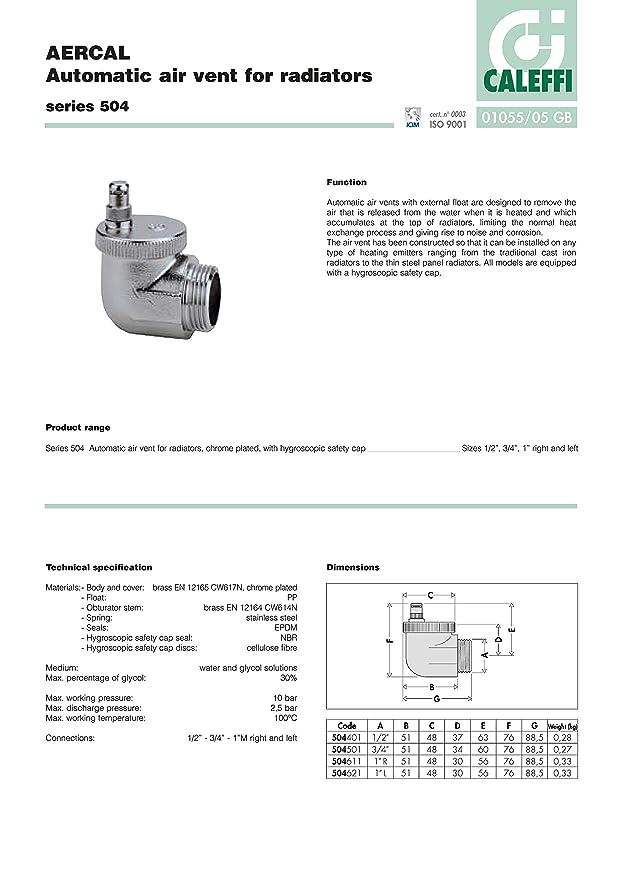 Caleffi 504401 AERCAL Válvula automática 1/2 M de Purga de Aire para Todo Tipo de Radiadores: Amazon.es: Bricolaje y herramientas