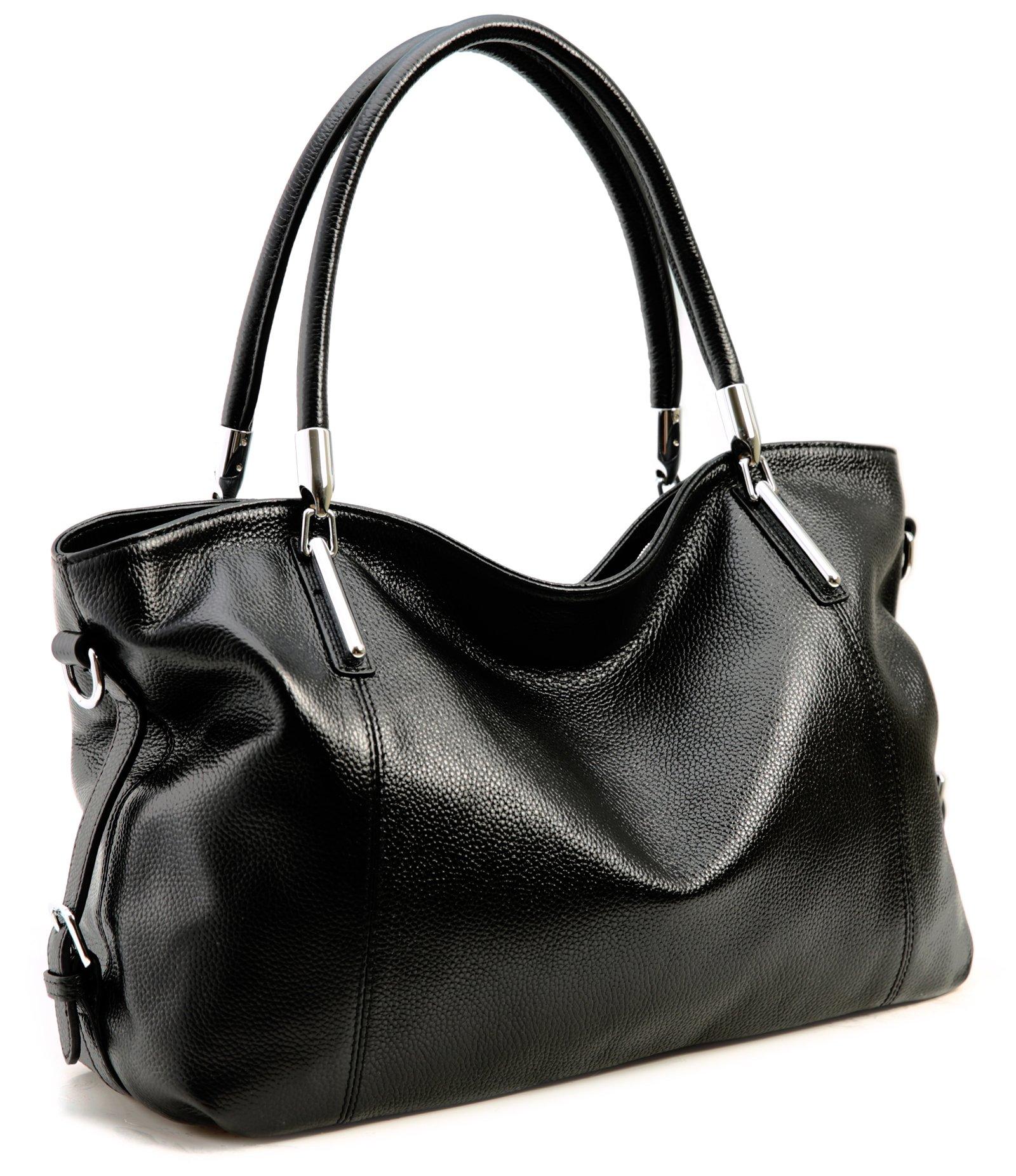 Iswee Women's Vintage Leather Tote Shoulder Bag Handbags Purse Satchels (Black)