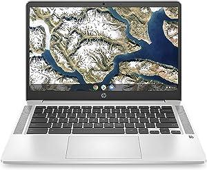 HP 14'' Chromebook 1080p FHD IPS Display Laptop Bundle, Intel Celeron N4000 up to 2.6GHz, 4GB DDR4 RAM, 64GB eMMC, Webcam, WiFi, B&O Audio, Bluetooth 5, Chrome OS + Sleeve, Mouse & Mazery SD Card