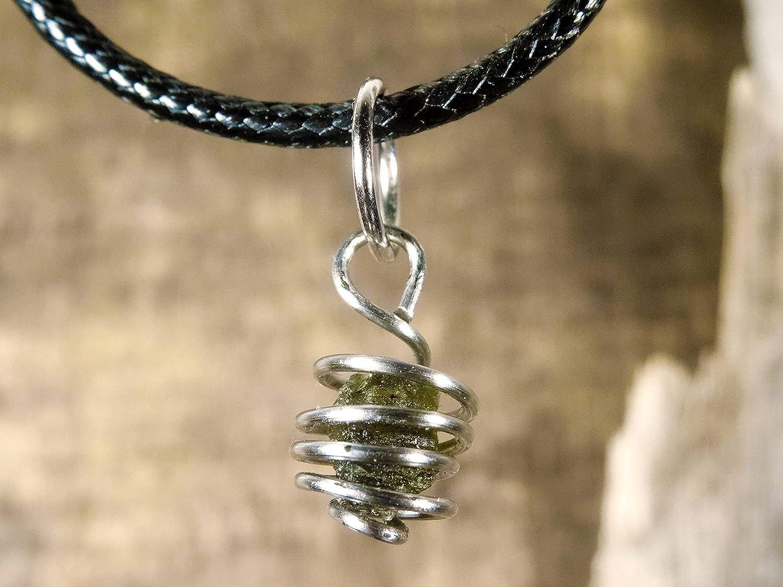Steel Moldavite Cage Pendant or Bracelet Charm,Genuine Moldavite Pendant,  Stainless Steel, Czech Moldavite, Meteorite Jewelry, Green Tektite (Pendant