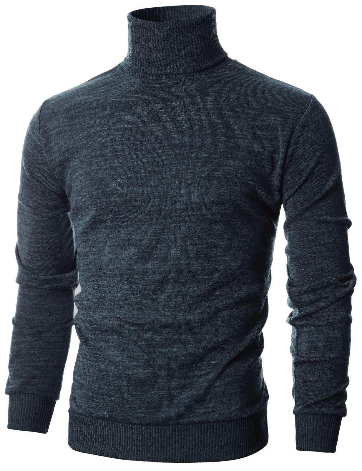 Ohoo Mens Slim Fit Long Sleeve Turtleneck Mixed Ribbed Hem Pullover Sweater/DCP024-CHARCOAL-L