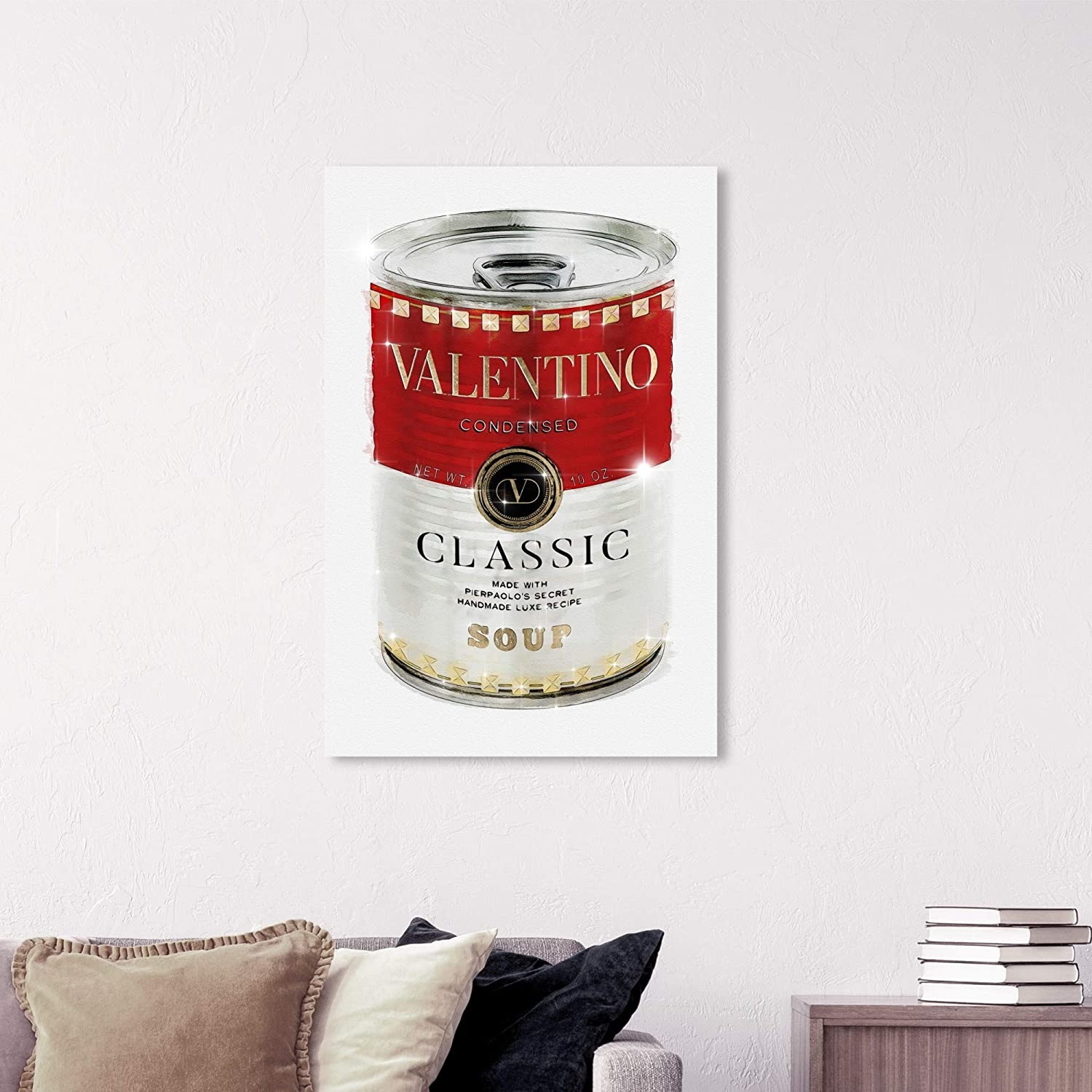 The Oliver Gal Artist Co Fashion And Glam Wall Art Canvas Prints Rockstud Soup Home Décor 24 X 36 Red White Home Kitchen Amazon Com
