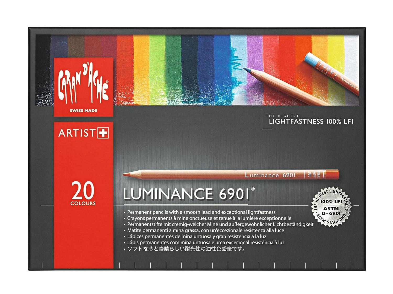 Caran d'Ache Luminance 6901 - Matite coloreate permanenti, Scatola con 20 colorei