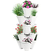 POTS4NATURE Plastic Stack-A-Pot for Floor Set Stackable Pots For Home & Garden, Office, Hotel, Indoor & Outdoor Pot/Planter(Planter, 5-Pieces)