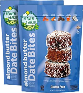 Heaven & Earth Gluten Free Chocolate Covered Almond Butter Date Bites with Coconut Flakes 5.25oz (2 Pack), All Natural, Individually Wrapped Date Snacks, Kosher for Passover