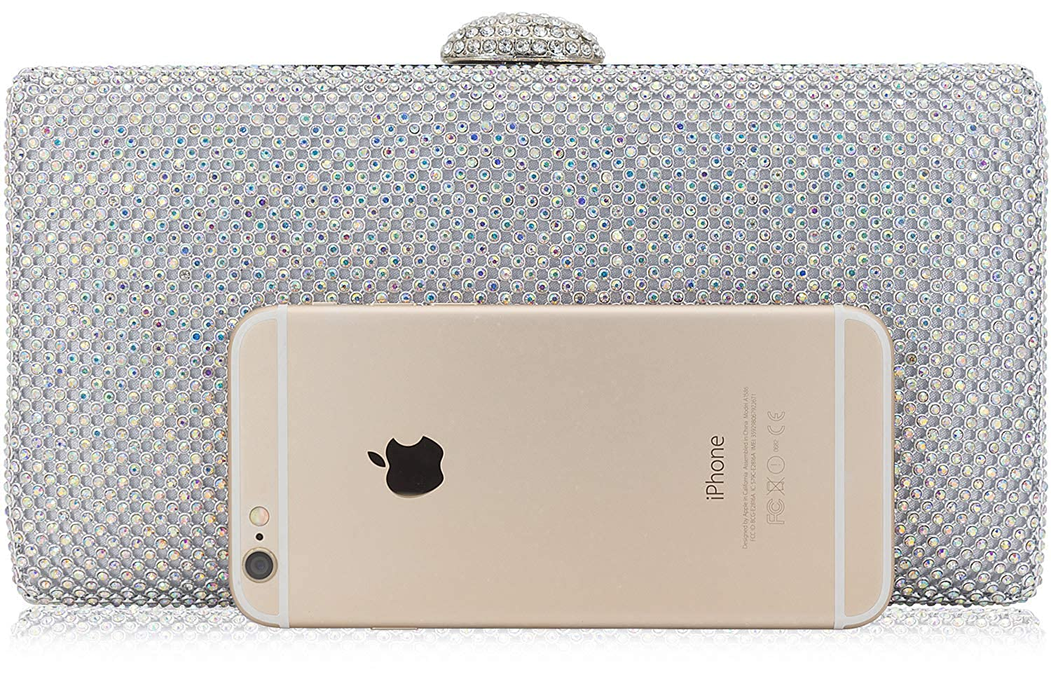 a772838fa7 Dexmay Large Rhinestone Crystal Clutch Evening Bag for Cocktail Prom Party  Women Clutch Purse AB Silver: Handbags: Amazon.com
