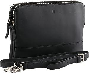 StilGut Sac bandoulière Marlene, Sac à Main en Cuir avec Sangle réglable et Amovible pour tablettes et Smartphones, Noir