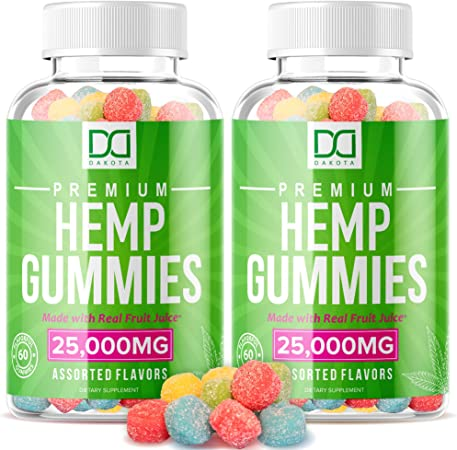 Hemp Gummies Extra Strength Chewable Vitamin Supplements for Migraine Stress Relief Aid Focus Mood Inflammation Gummy for Adults (25000mg | 2 Pack)