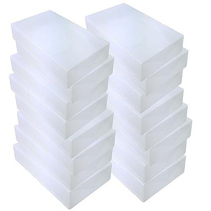 15x DynaSun PP436 Cajas de Almacenaje Para Botas Apilable Plegable Contenedor Organizador Transparente para Hombres Damas