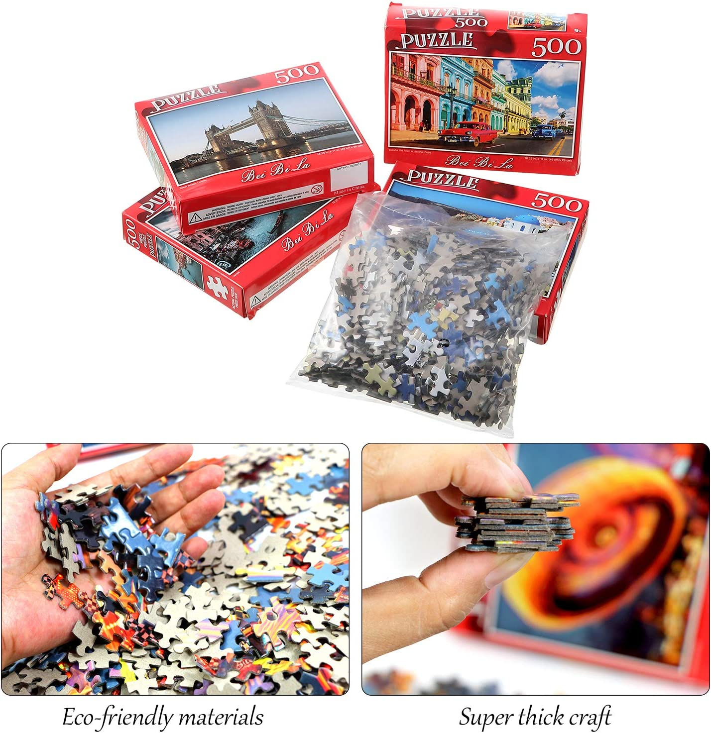 4 Sets 500 Pieces Jigsaw Puzzles Landscape Jigsaw Puzzles Castle Jigsaw Puzzles Educational Intellectual Decompressing Fun Family Jigsaw Puzzles Game for Adults Teens and Family