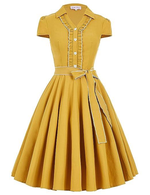 1950s Dresses, 50s Dresses | 1950s Style Dresses JS Fashion Vintage Dress Belle Poque Womens V-Neck Stretchy Swing Vintage Dress BP167 $29.99 AT vintagedancer.com