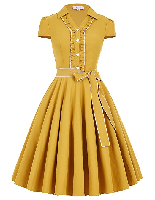 1940s & 1950s Style Shirt Dresses, Shirtwaist Dresses JS Fashion Vintage Dress Belle Poque Womens V-Neck Stretchy Swing Vintage Dress BP167 $29.99 AT vintagedancer.com