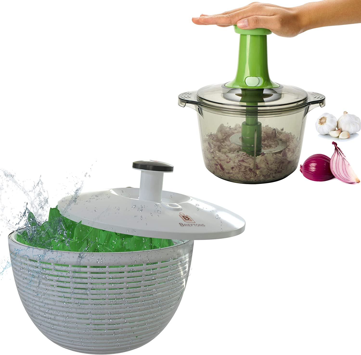Brieftons Salad Spinner (6.2-Quart) & Brieftons Express Food Chopper (8.5-Cup)