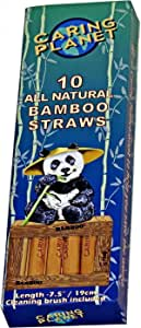 """Caring Planet - Bamboo Straws - Reusable Natural Sustainable Bamboo Drinking Straws Eco Friendly ~ 7.5"""" Plus Coconut Fiber Cleaning Brush Box of (10)"""