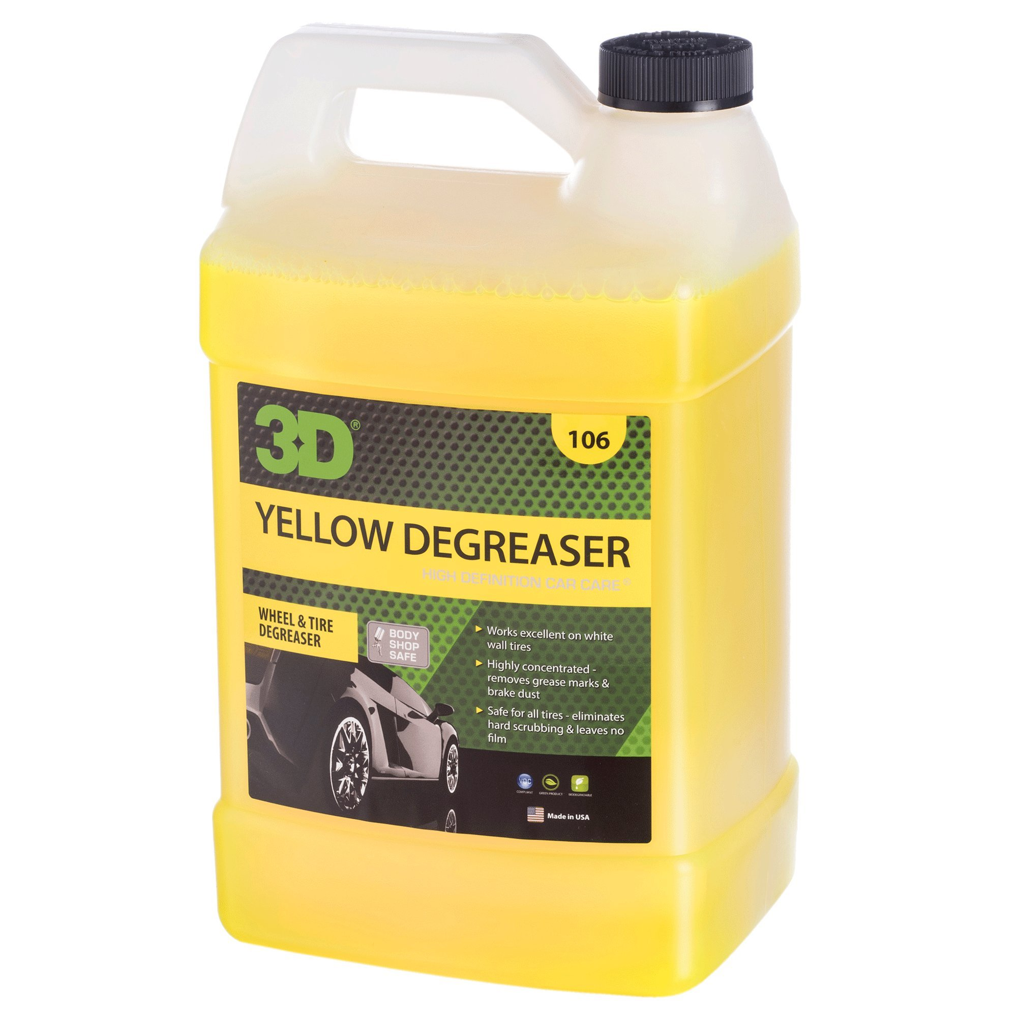 3D Yellow Degreaser Wheel & Tire Cleaner - 1 Gallon | Highly Concentrated Degreaser & Cleaner | Safe for All Tires | Removes Grease & Brake Dust | Made in USA | All Natural | No Harmful Chemicals