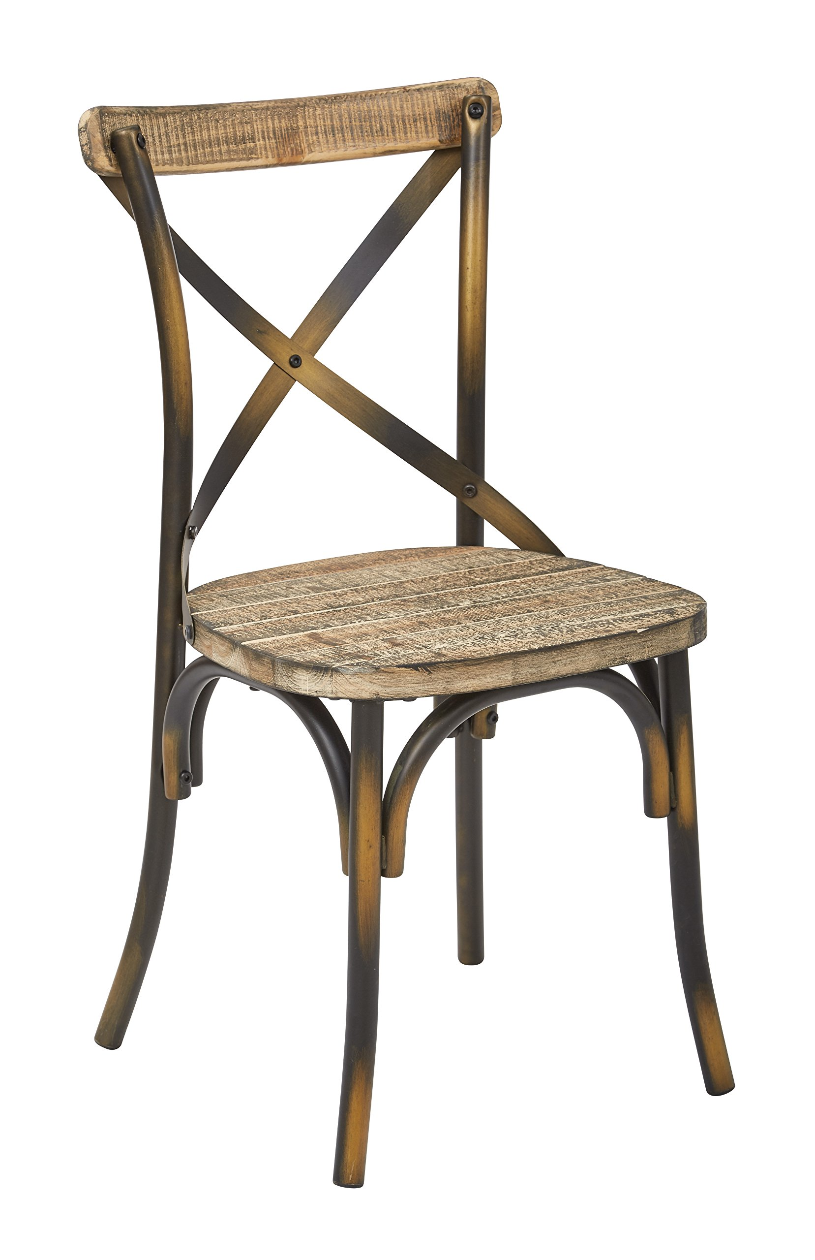 Work Smart/OSP Designs SMR424AC-C314-osp Somerset X-Back Metal Chair with Hardwood Seat Finish, Antique Copper/Vintage Walnut