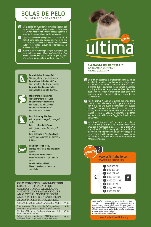 Ultima Pienso para Gatos para Prevenir las Bolas de Pelo con Pavo - 3000 gr: Amazon.es: Amazon Pantry