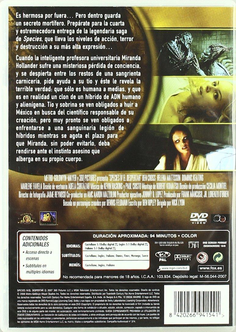 Species 4 [DVD]: Amazon.es: Edy Arellano, Marco Bacuzzi, Ben Cross, Roger Cudney, Jan Bouda, Nick Lyon: Cine y Series TV
