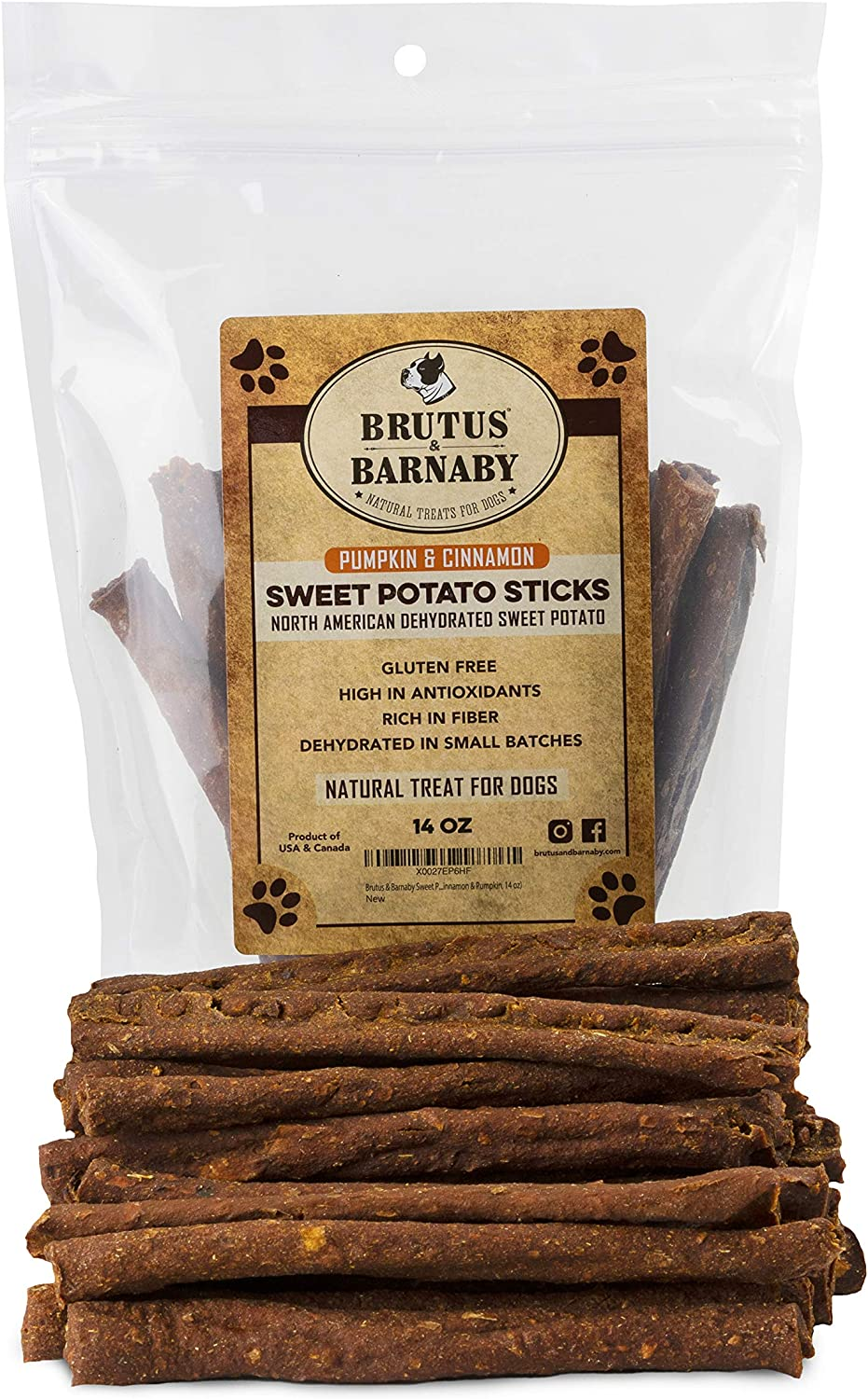 BRUTUS & BARNABY Sweet Potato Dog Treats- Crunchy Grain Free Cinnamon Pumpkin Sticks, Promotes Positive Gut Health with Natural Anti-Diarrhea Properties
