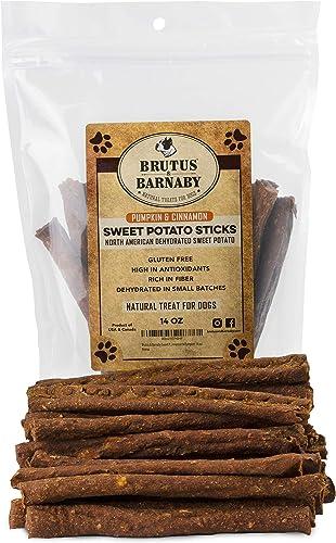 BRUTUS BARNABY Sweet Potato Dog Treats- Crunchy Grain Free Cinnamon Pumpkin Sticks, Promotes Positive Gut Health with Natural Anti-Diarrhea Properties