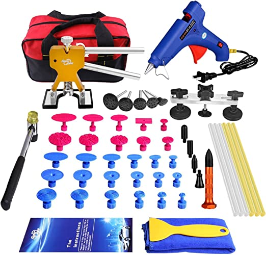 GLISTON Paintless Dent Puller Golden Dent Puller Kit Renewed 35pcs Dent Remover Tools with Adjustable Width Dent Repair Tools for Car Pro Strong Viscosity Glue Sticks for DIY Auto Body Dent Repair