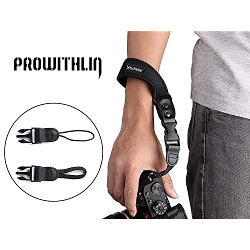 Prowithlin Universal Neoprene Camera Wrist Strap Hand Strap with 2 Quick Release Clips for DSLR/SLR CANNON SONY Fuji etc