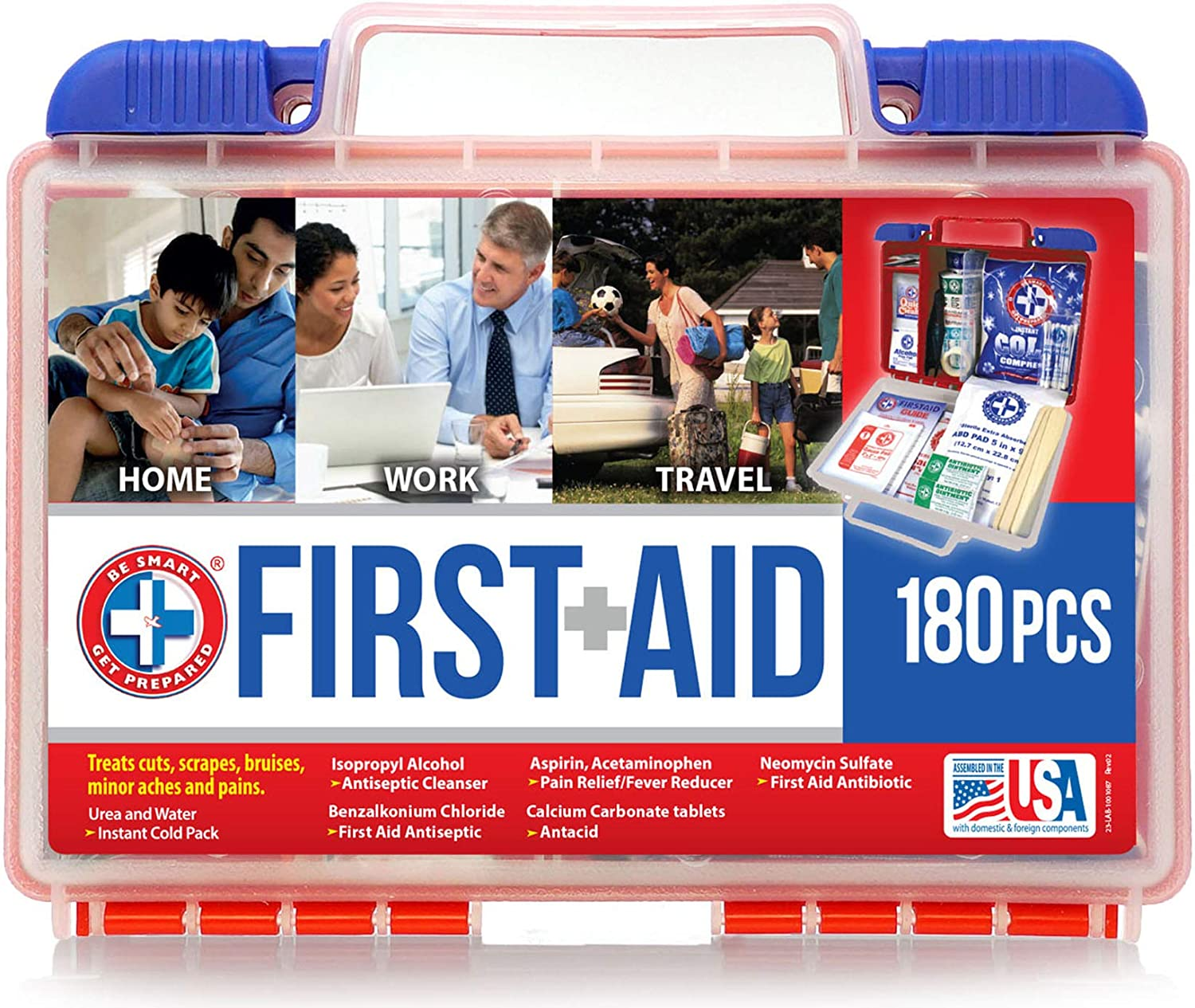 Be Smart Get Prepared 180 Piece First Aid Kit, 1.44 Pound