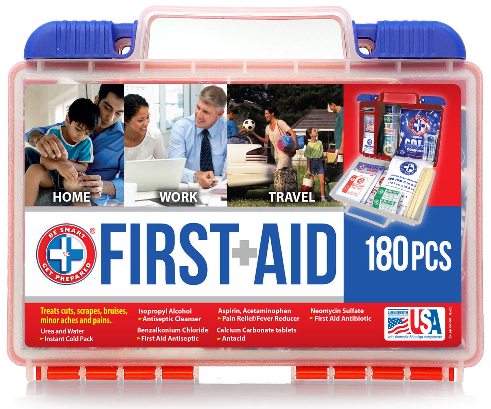 Be Smart Get Prepared First Aid Kit – 180 Piece, (package may vary)
