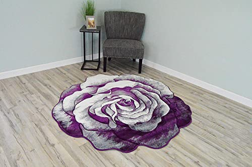 Flowers 3D Effect Hand Carved Thick Artistic Floral Flower Rose Botanical Shape Area Rug Design 304 Purple 6'6''x6'6'' Round